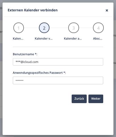 2. Schritt iCloud-Anmeldedaten eingeben