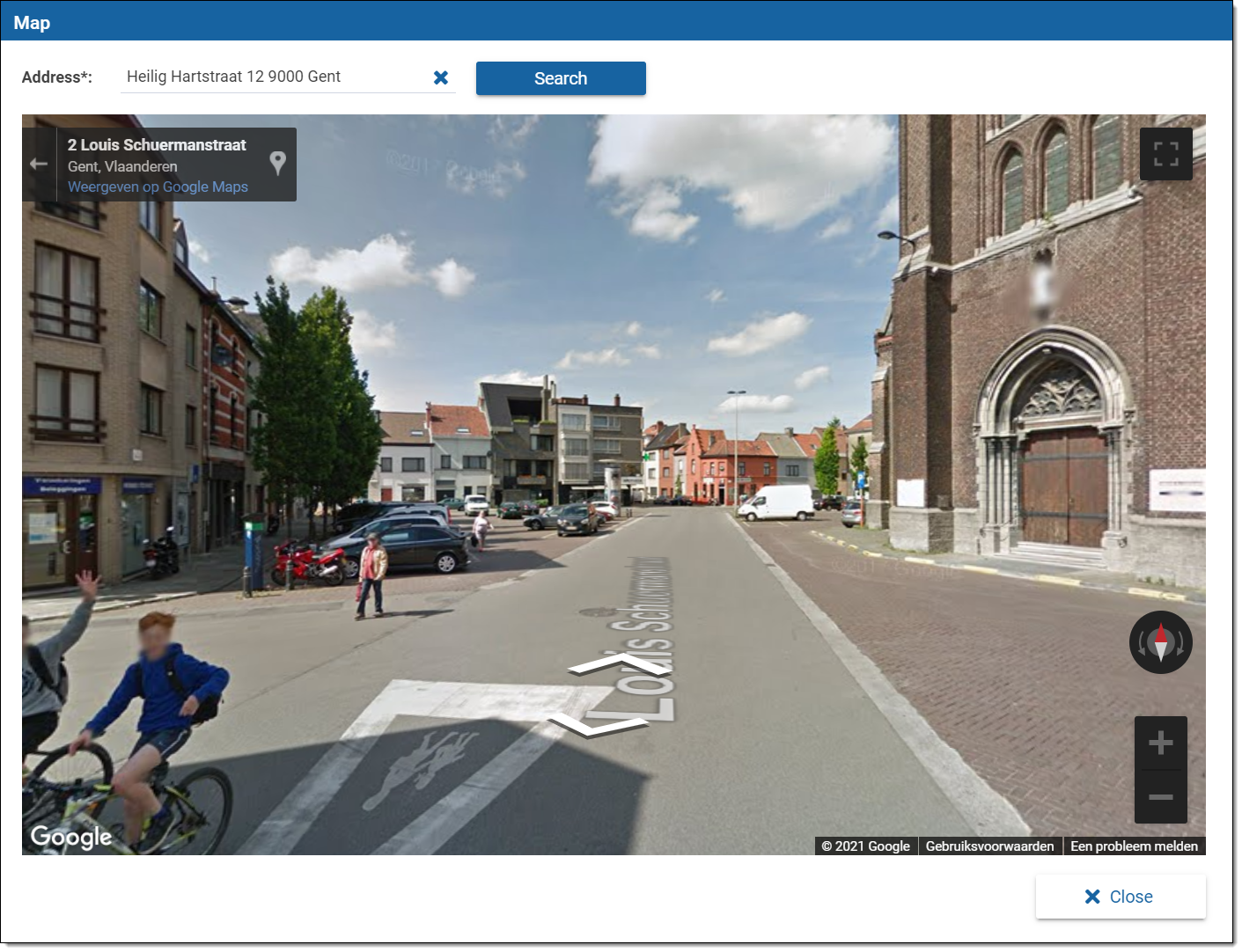 Google Street view page in the platform