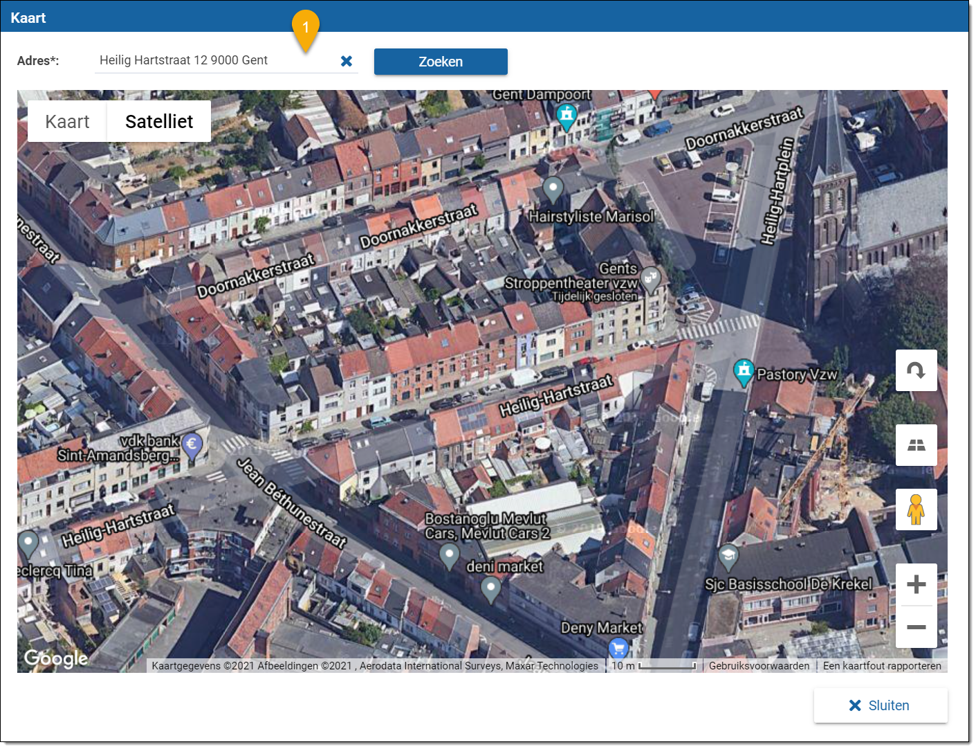 Google Maps pagina in het platform