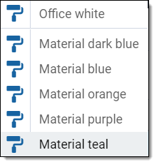 popup menu with the available themes
