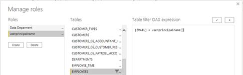 Machine generated alternative text: x  Manage roles  Roles  Data Deparment  Tables  CUSTOMER TYPES  CUSTOMERS  CUSTOMERS GS ACCOUNTANT I  CUSTOMERS GS CUSTOMER RES  CUSTOMERS GS PAYROLL ACCO  DEPARTMENTS  EMPLCYEE TIME  MPLOYEES  Table filter DAX expression  ERAIL] =