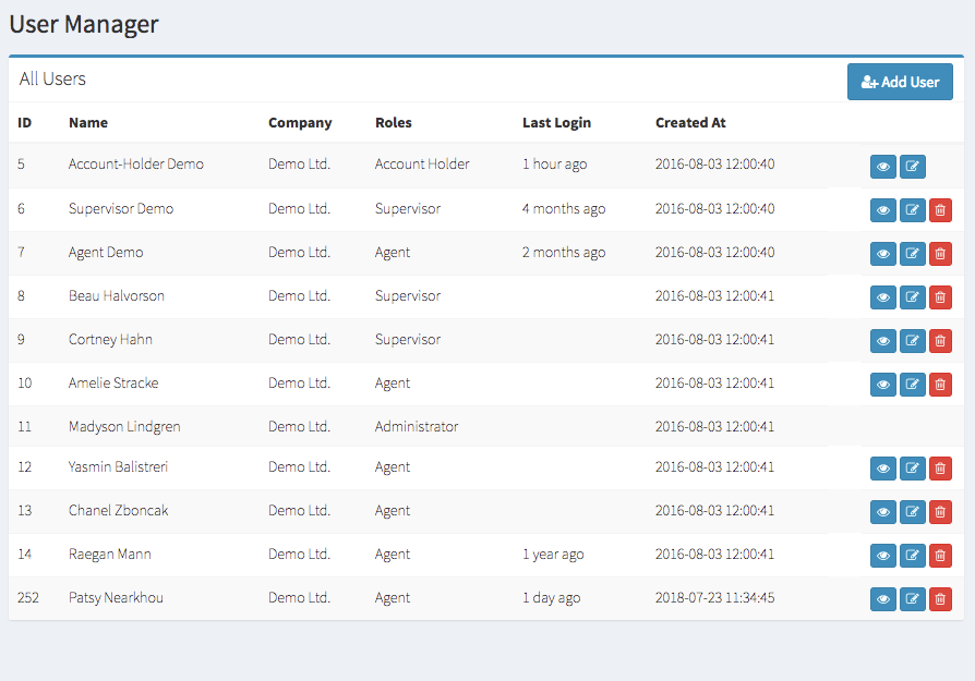User Manager Page