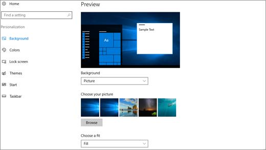 Desktop background personalization settings