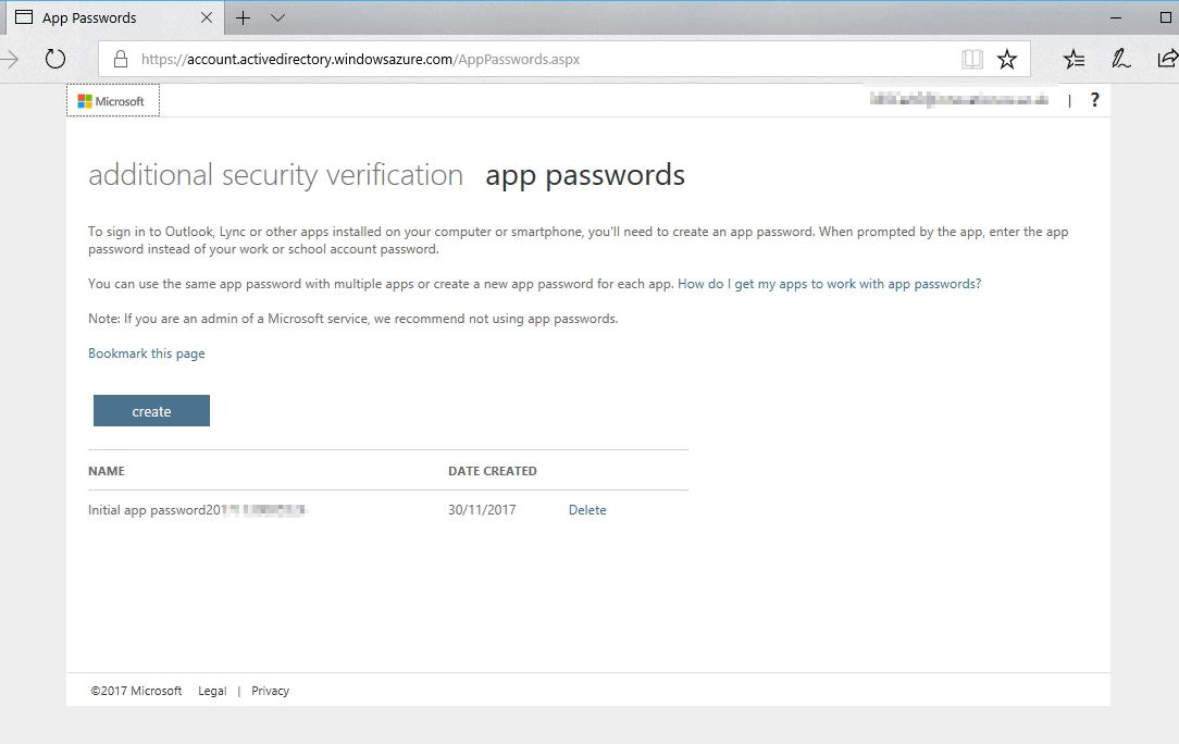 App Passwords - additional security verification