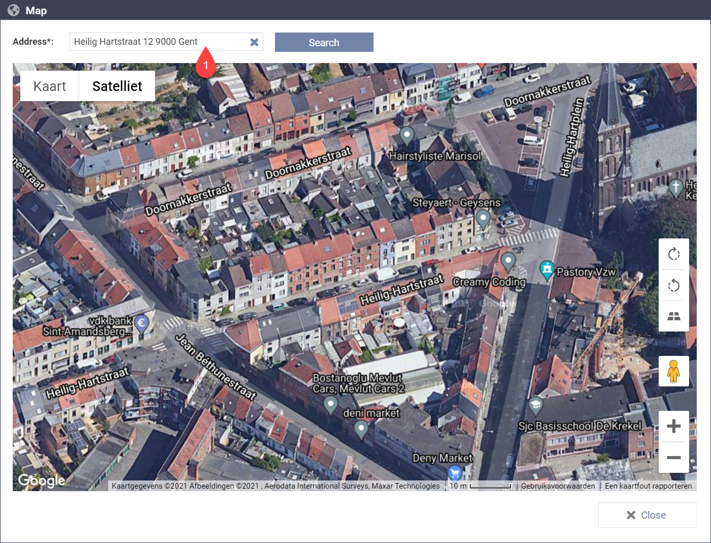 Google Maps page in the platform