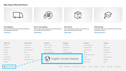 Select the globe icon, then select the link for your language