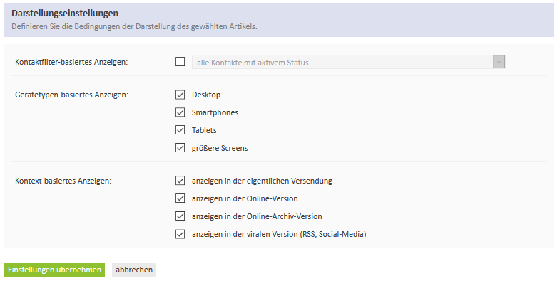 Display settings of selected articles - e-mailings