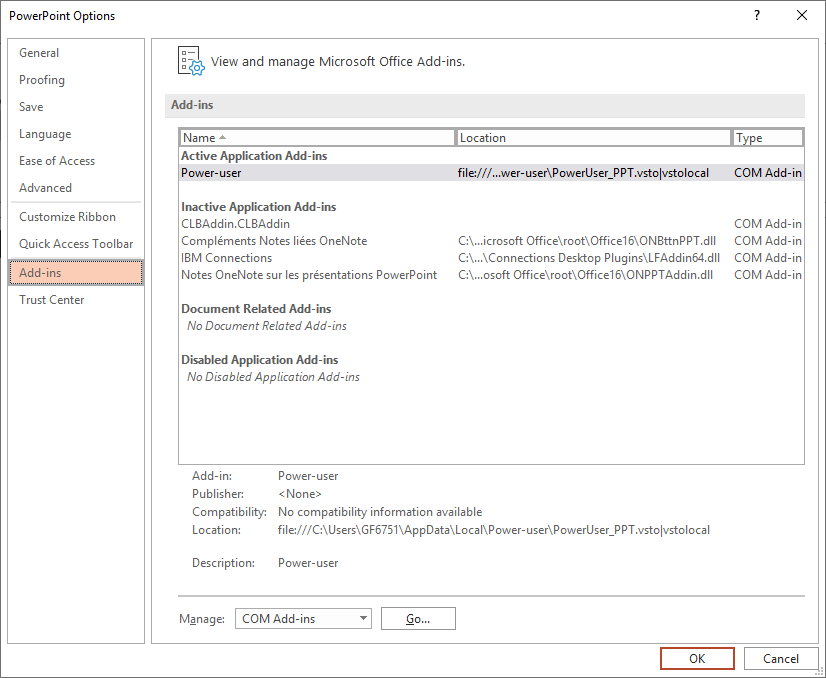 PowerPoint add-in status File/Options/Add-ins