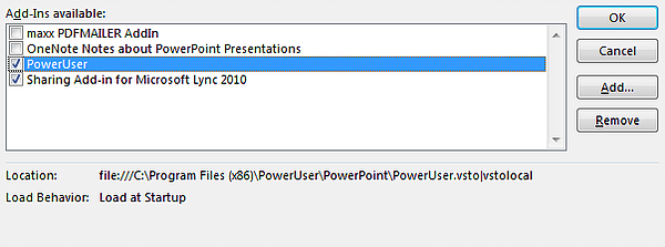 PowerPoint add-in activation dialog box