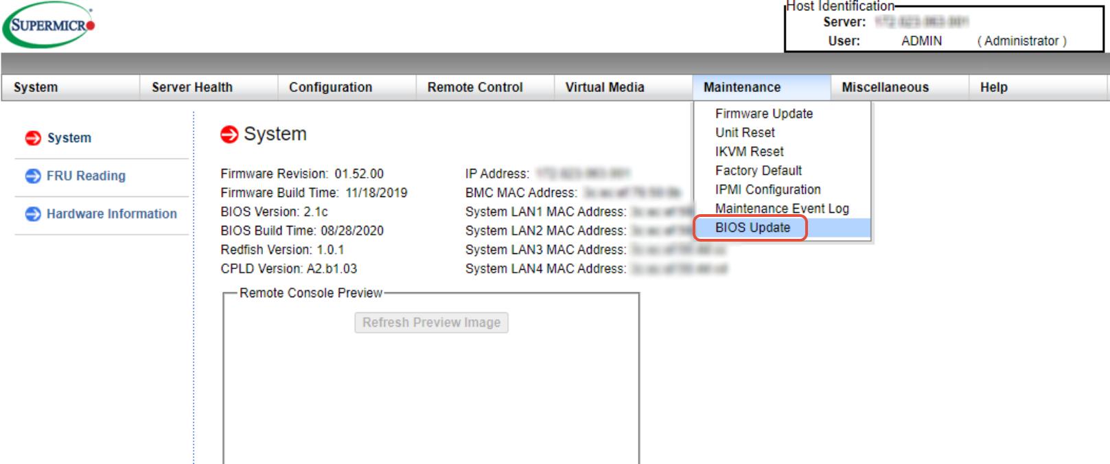 BIOS update via IPMI WebGUI