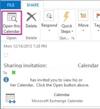 the Open this calendar option