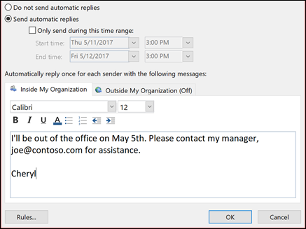 Enter your automatic reply message