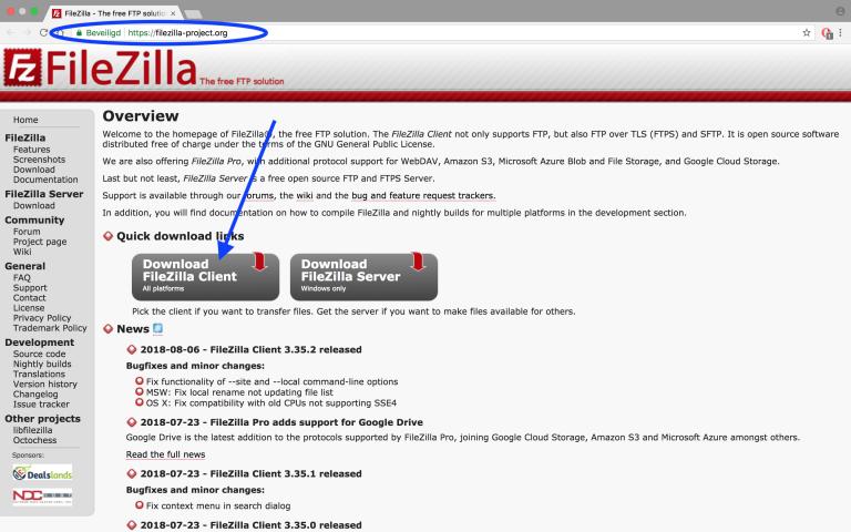 FileZilla installeren, FTP-programma FileZilla installeren