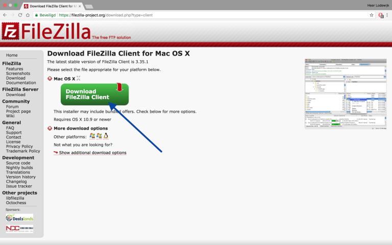 FileZilla installeren, download FileZilla Client