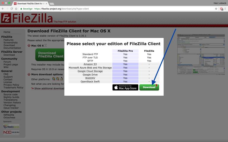 FileZilla installeren, klik nu op Download