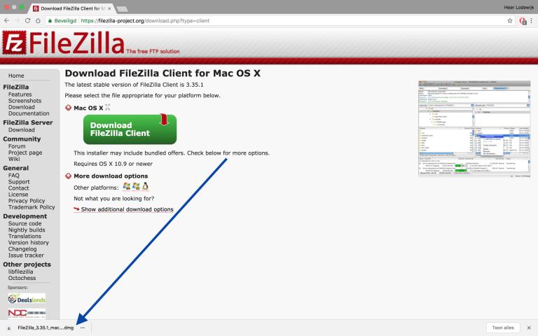 FIleZilla installeren, de download verschijnt vanzelf in je downloadmap