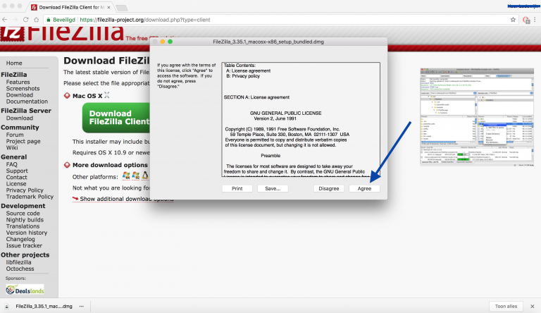 FileZilla installeren, Klik op Agree