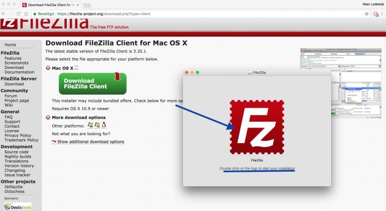 FileZilla installeren, dubbelklik op het FileZilla icoon om te installeren