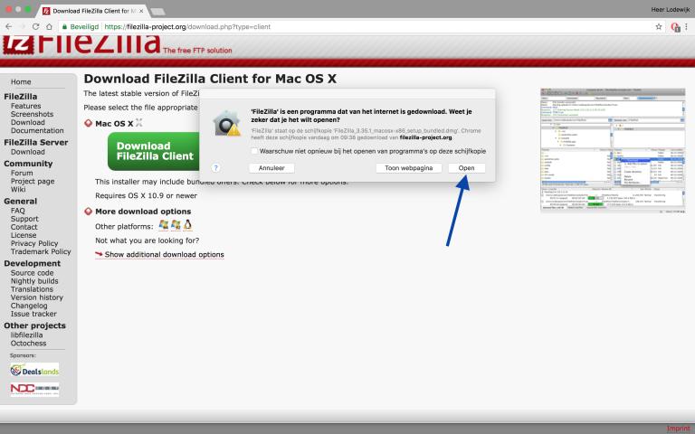 Filzilla installeren, klik nu op Open