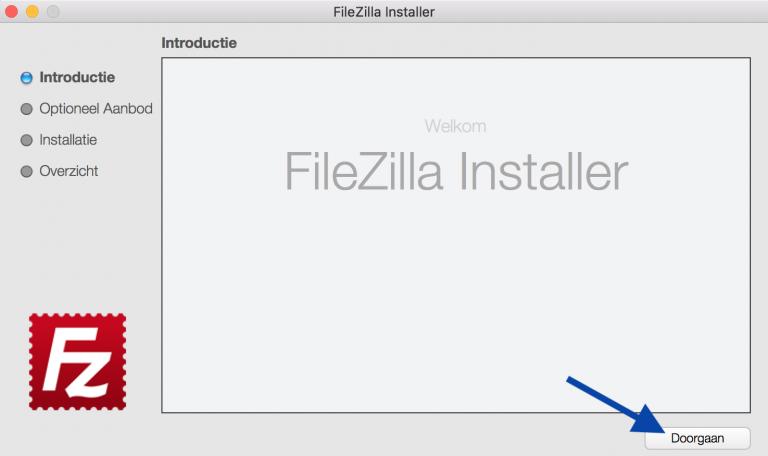 Filezilla installeren, klik nu op doorgaan