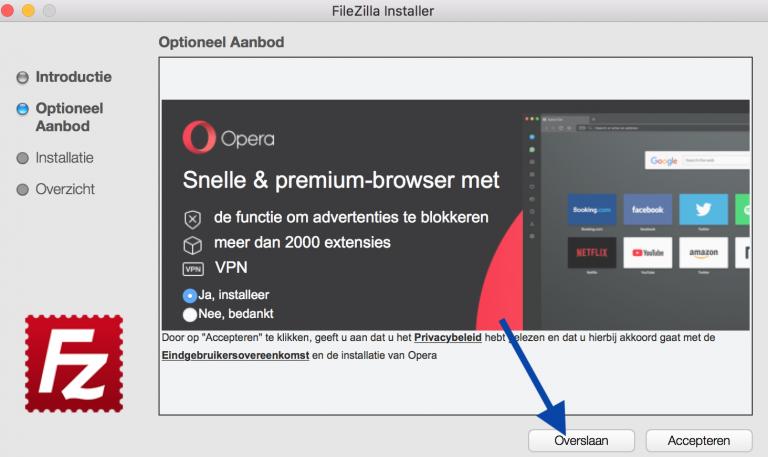FileZilla Installeren, sla Optionele aanbiedingen over