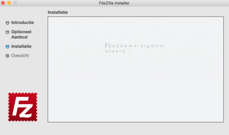FileZilla wordt geïnstalleerd