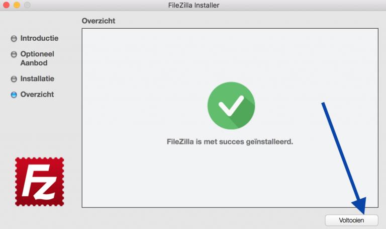 FileZilla installeren, klik op voltooien