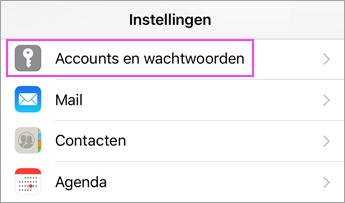 Apparaatinstellingen > Accounts en wachtwoorden