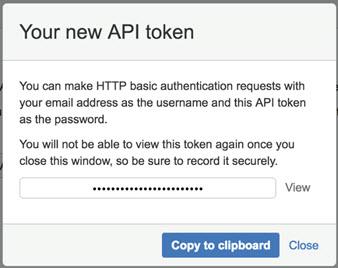 Create the API token modal