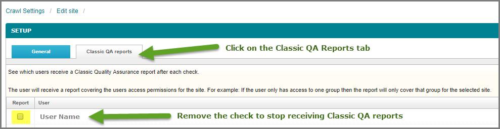 Classic QA reports