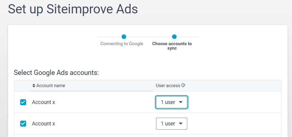 Siteimprove_Ads_setup_screen_showing_checkboxes_for_the_accounts_you_want_access_to_and_user_access_options
