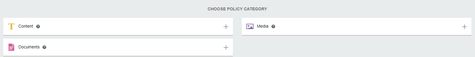 Policy Categories, Content, Documents, Media