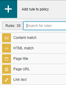 Policy rule search box