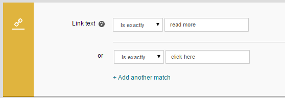 two link text matches added to the same rule