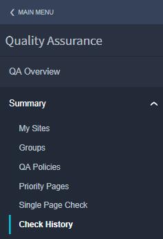 Menu Quality Assurance Summary Check history