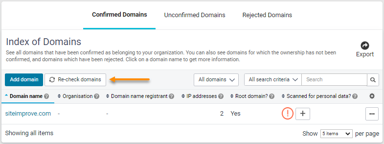 Adding Domains via table