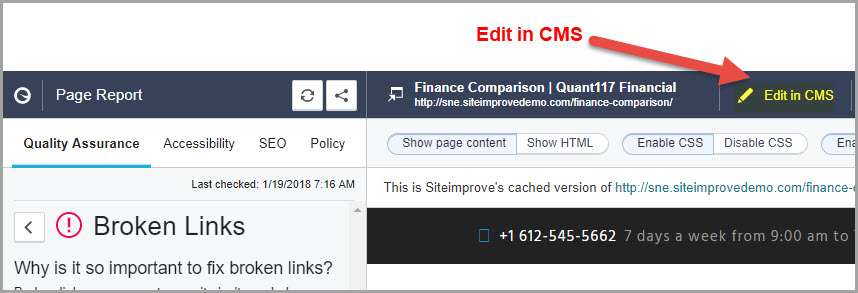 Page report with the Edit in CMS Button highlighted