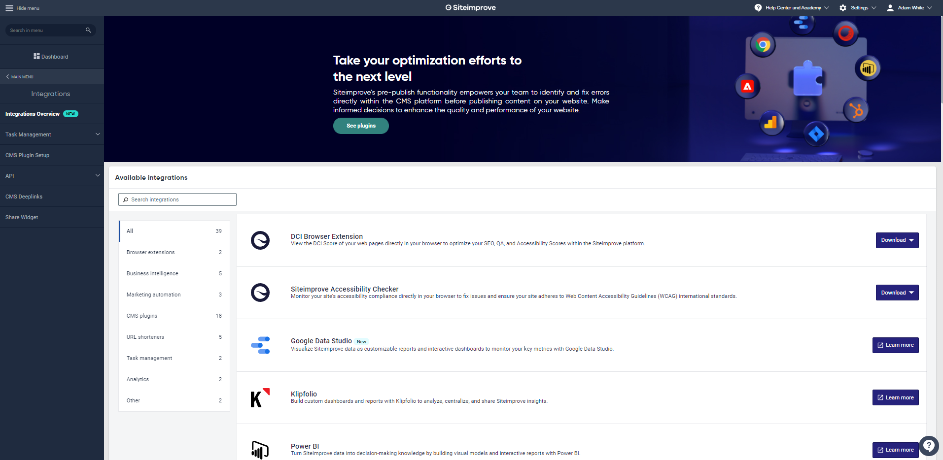 New Integrations Overview page
