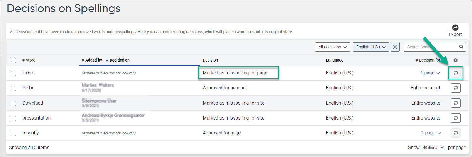 Decisions_on_Spellings page in platform