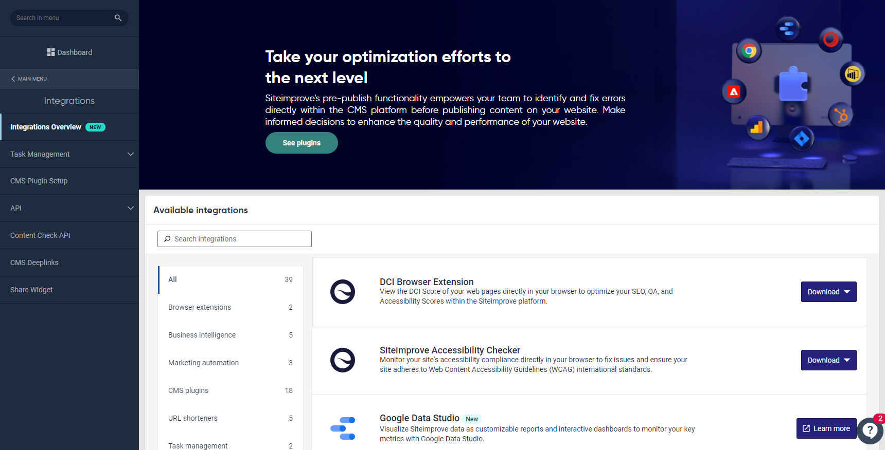 Screenshot of the new Integrations Overview page.
