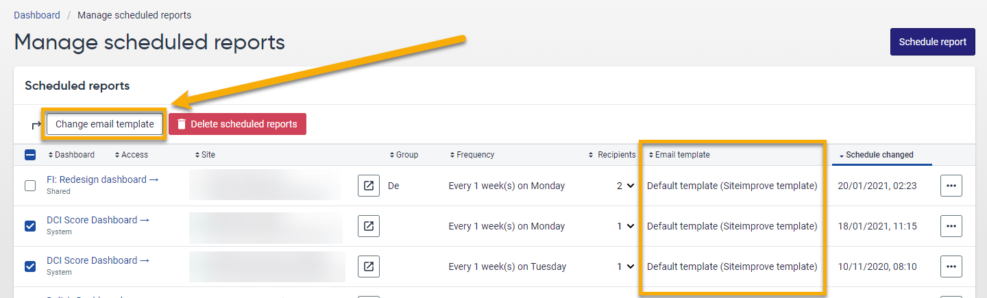 Screenshot of the Manage scheduled reports page. The Email template and bulk-change button are highlighted in orange.