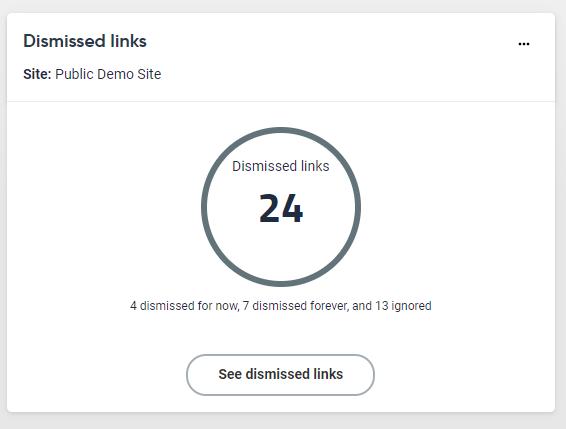 Screenshot of the Dismissed links dashboard widget. This specific widget shows 24 dismissed links.