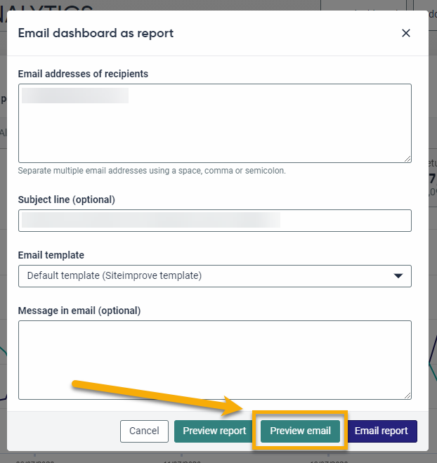 Screenshot of the Email dashboard as report box. The new Preview email button is highlighted in orange.