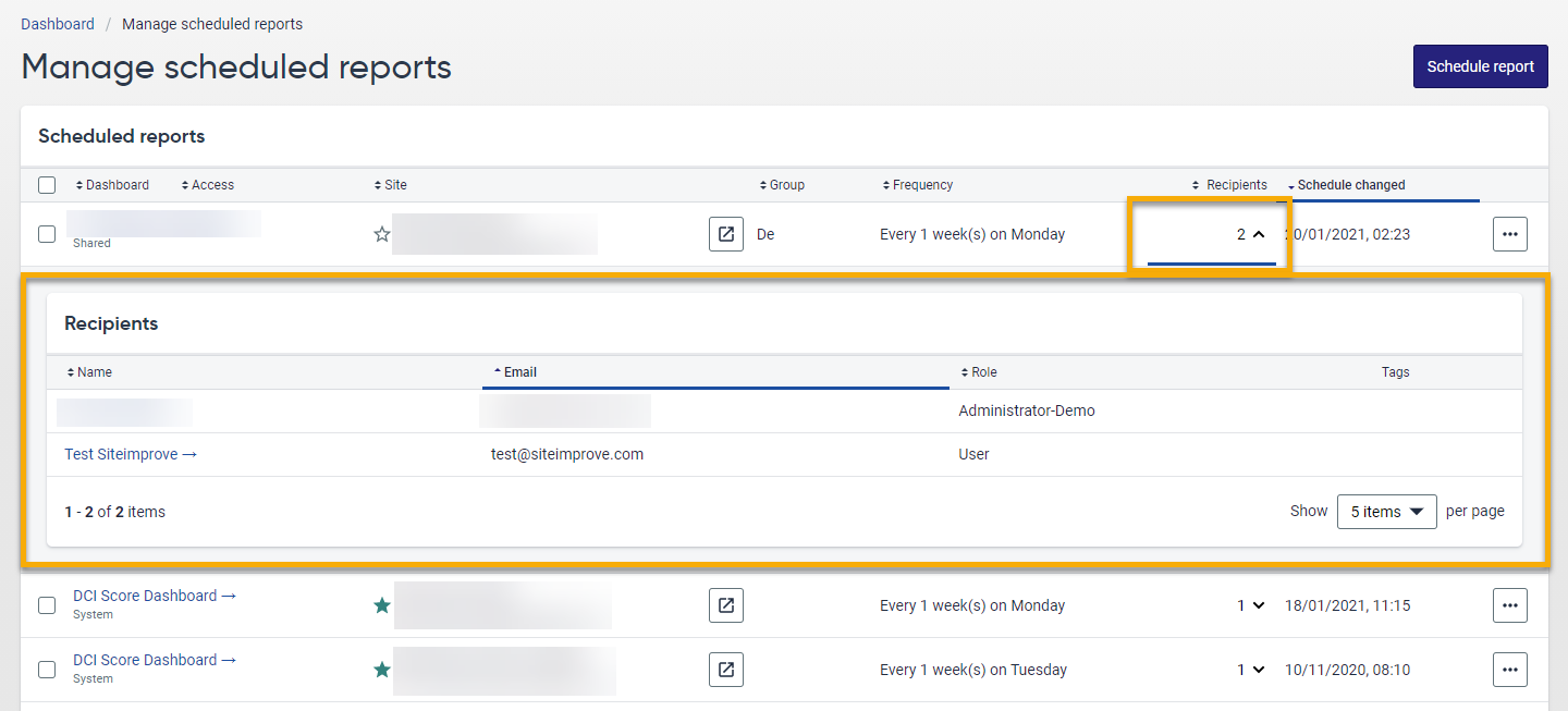 Screenshot of the Manage scheduled reports page. The option to expand the Recipients column is highlighted in orange.