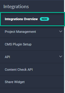 Left hand menu in the Siteimprove Platform, Highlighting the Integrations section.