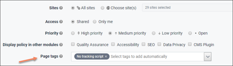 Screenshot from the editing mode of a policy showcasing the possibility to add tag(s) to the policy
