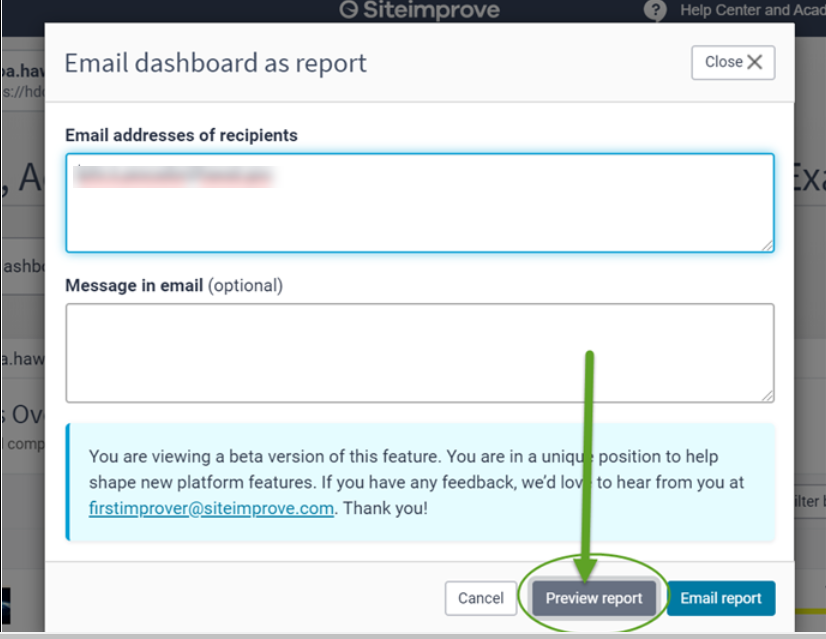 The email dashboard module box with the preview report option circled.