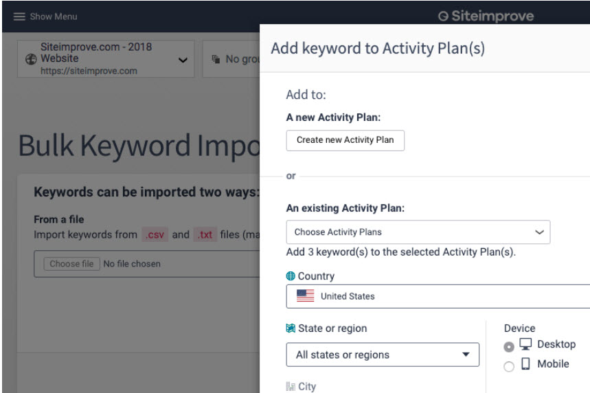 New option to create an Activity Plan when you are doing your keyword research