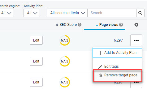 Remove target page option in the dropdown menu