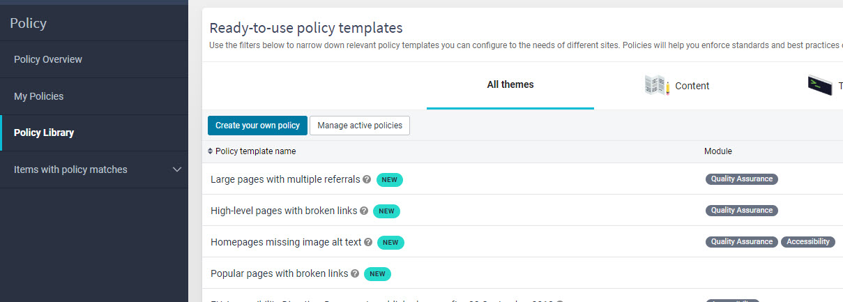 Screenshot of the Policy Library section within the Policy module of the Siteimprove platform. The screenshot shows four policies, each with a New label.